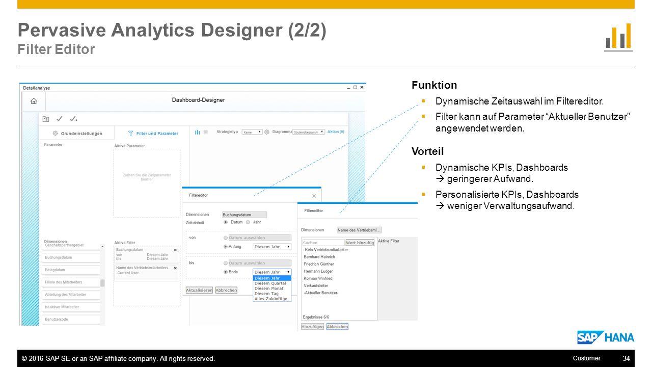 Pervasive Analytics Designer (2/2) Filter Editor