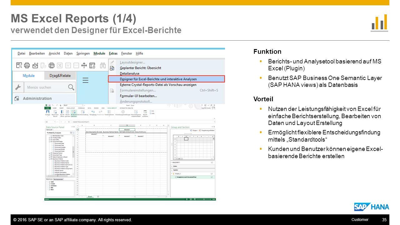 MS Excel Reports (1/4) verwendet den Designer für Excel-Berichte