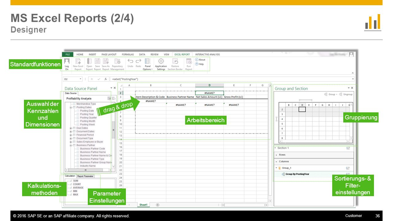 MS Excel Reports (2/4) Designer
