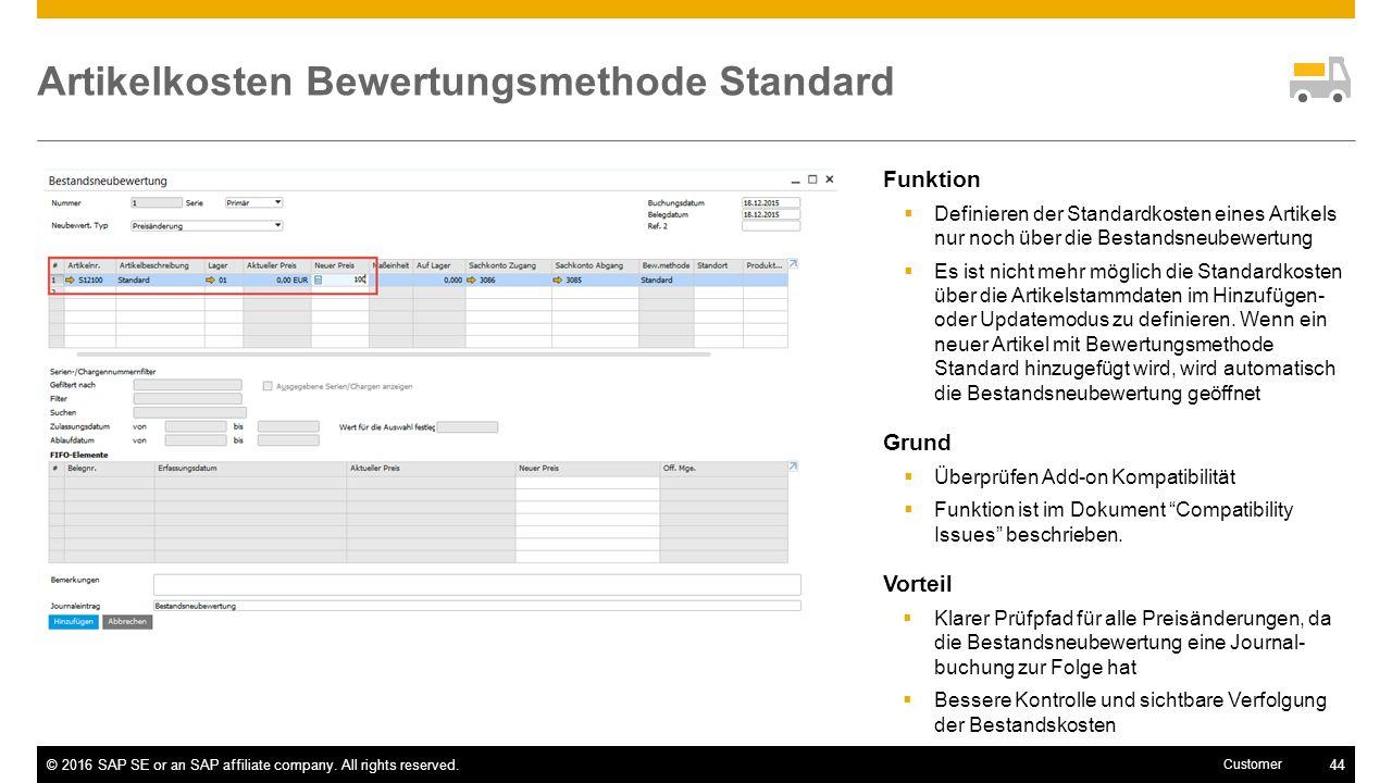 Artikelkosten Bewertungsmethode Standard