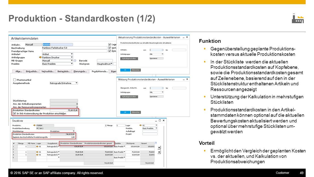 Produktion - Standardkosten (1/2)
