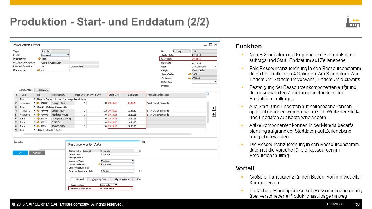 Produktion - Start- und Enddatum (2/2)