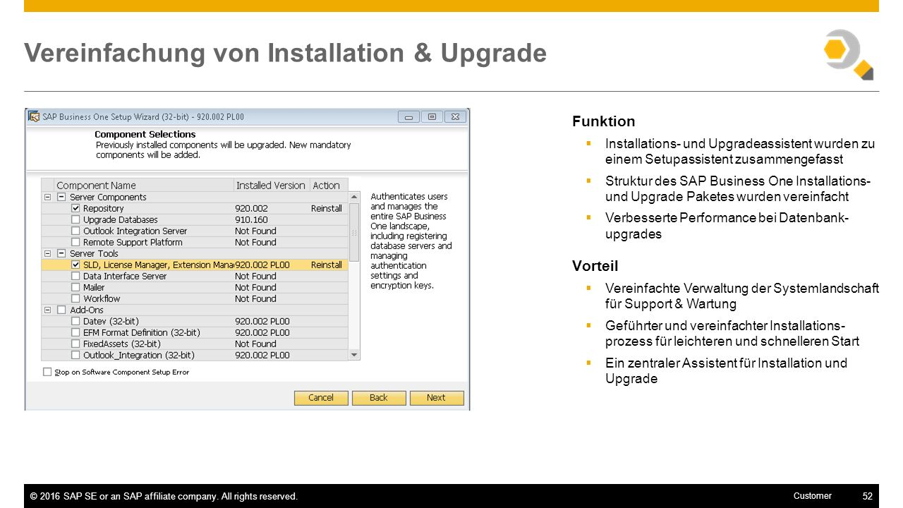 Vereinfachung von Installation & Upgrade
