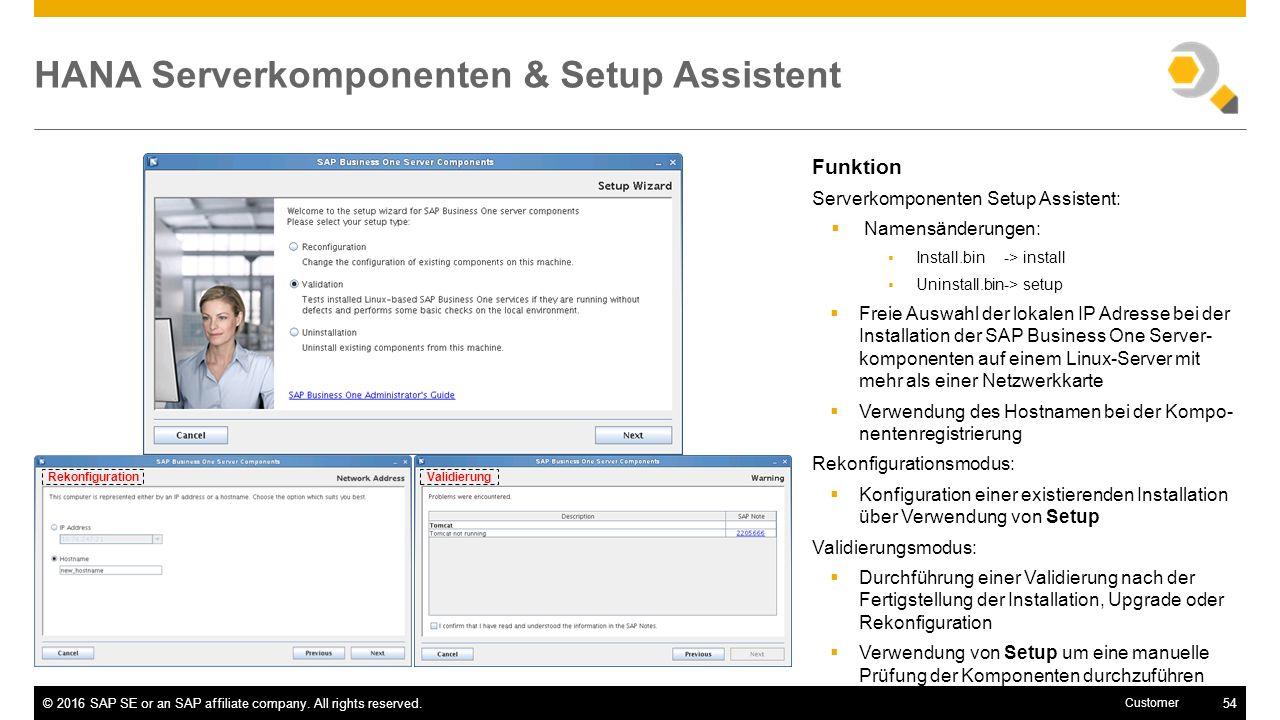 HANA Serverkomponenten & Setup Assistent