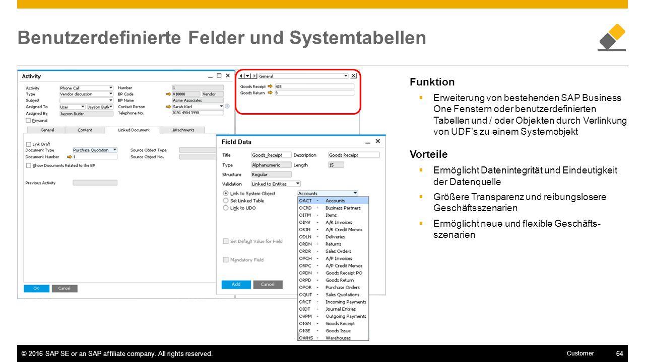 Benutzerdefinierte Felder und Systemtabellen