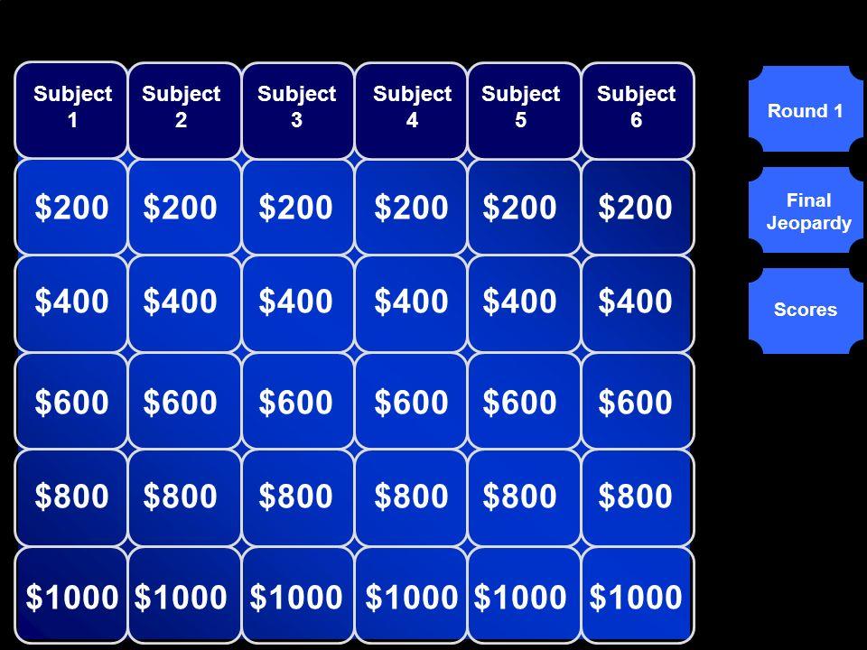 Subject 1 Subject 2. Subject 3. Subject 4. Subject 5. Subject 6. Round 1. $200. $200. $200.
