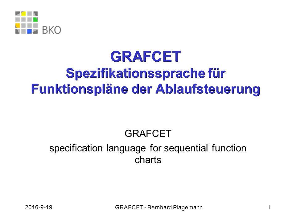 GRAFCET Spezifikationssprache für Funktionspläne der Ablaufsteuerung