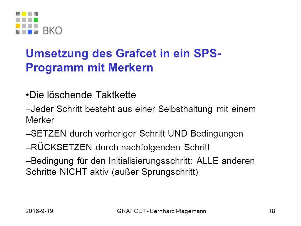 Umsetzung des Grafcet in ein SPS-Programm mit Merkern