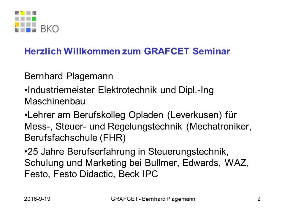 Herzlich Willkommen zum GRAFCET Seminar