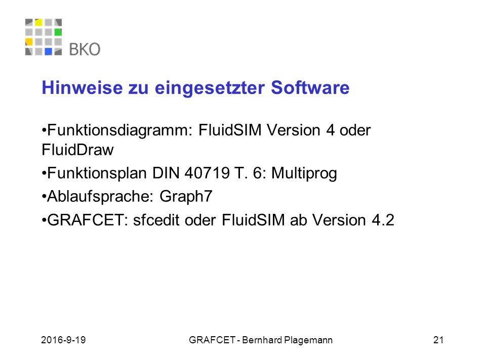 Hinweise zu eingesetzter Software