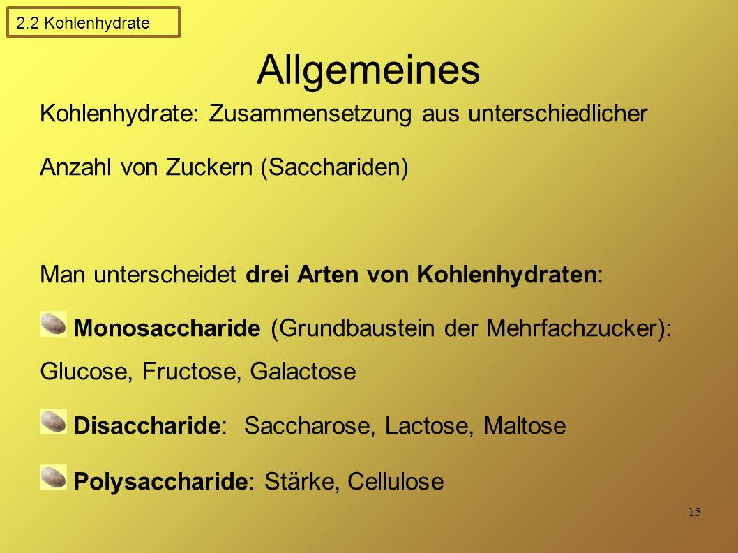 Allgemeines Kohlenhydrate: Zusammensetzung aus unterschiedlicher