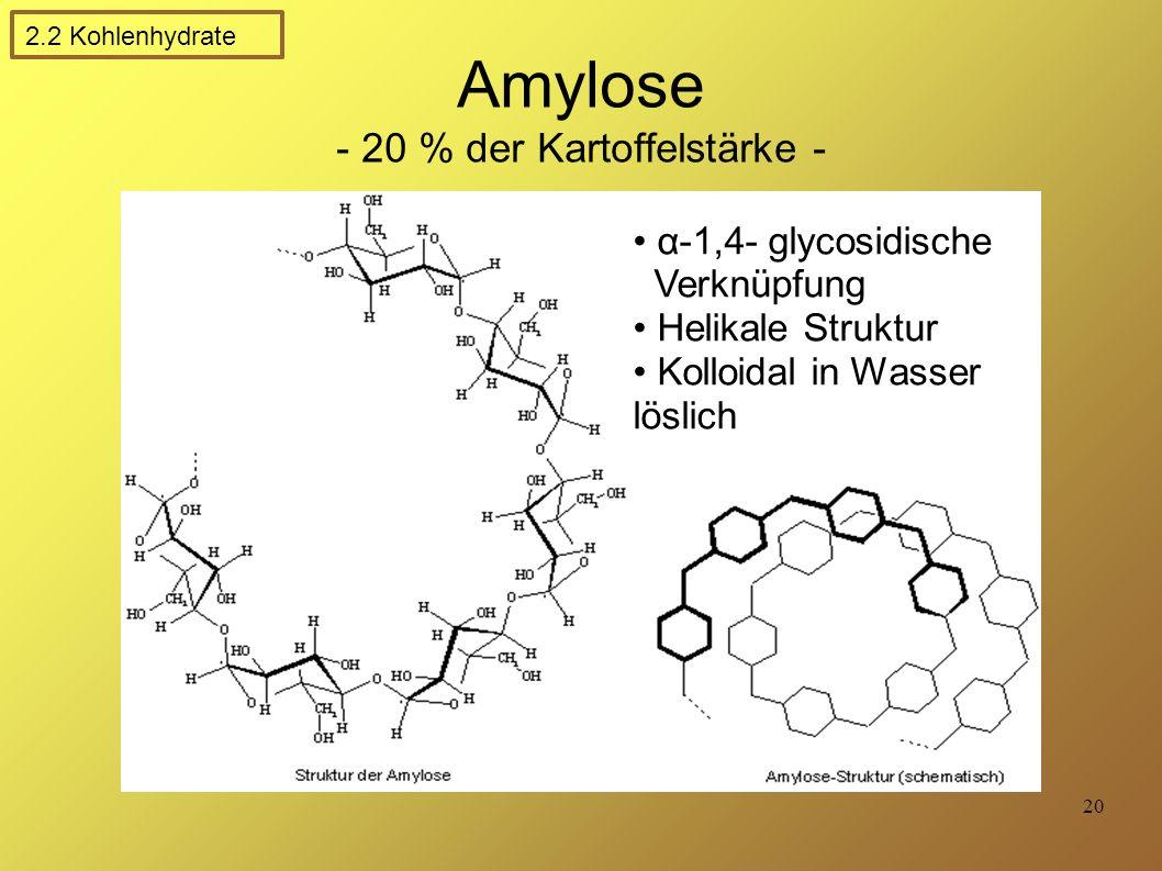 Amylose - 20 % der Kartoffelstärke -