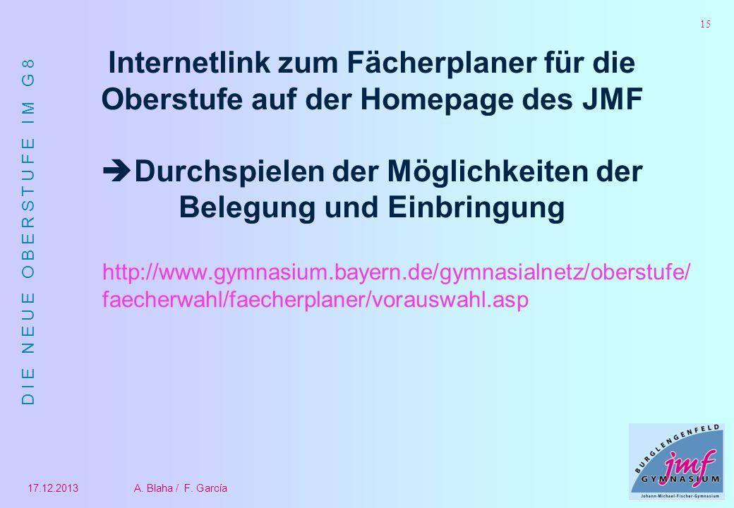 Internetlink zum Fächerplaner für die Oberstufe auf der Homepage des JMF Durchspielen der Möglichkeiten der Belegung und Einbringung