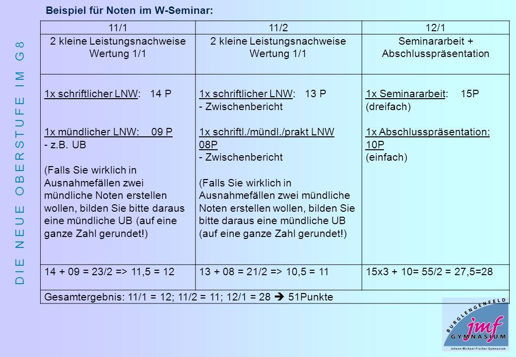 Beispiel für Noten im W-Seminar: 11/1 11/2 12/1