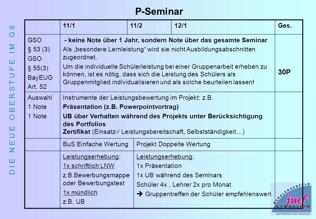 P-Seminar 30P 11/1 11/2 12/1 Ges. GSO § 53 (3) § 55(3) BayEUG Art. 52