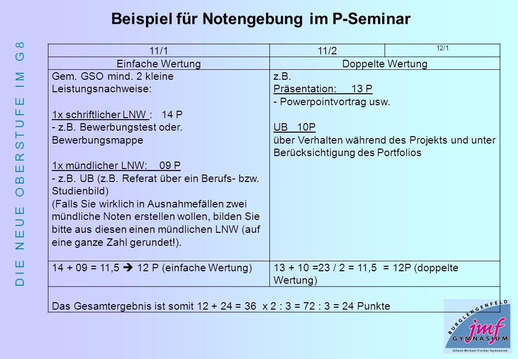 Beispiel für Notengebung im P-Seminar
