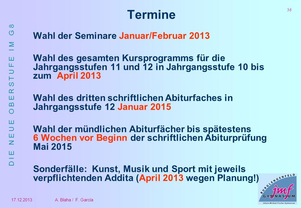 Termine Wahl der Seminare Januar/Februar 2013
