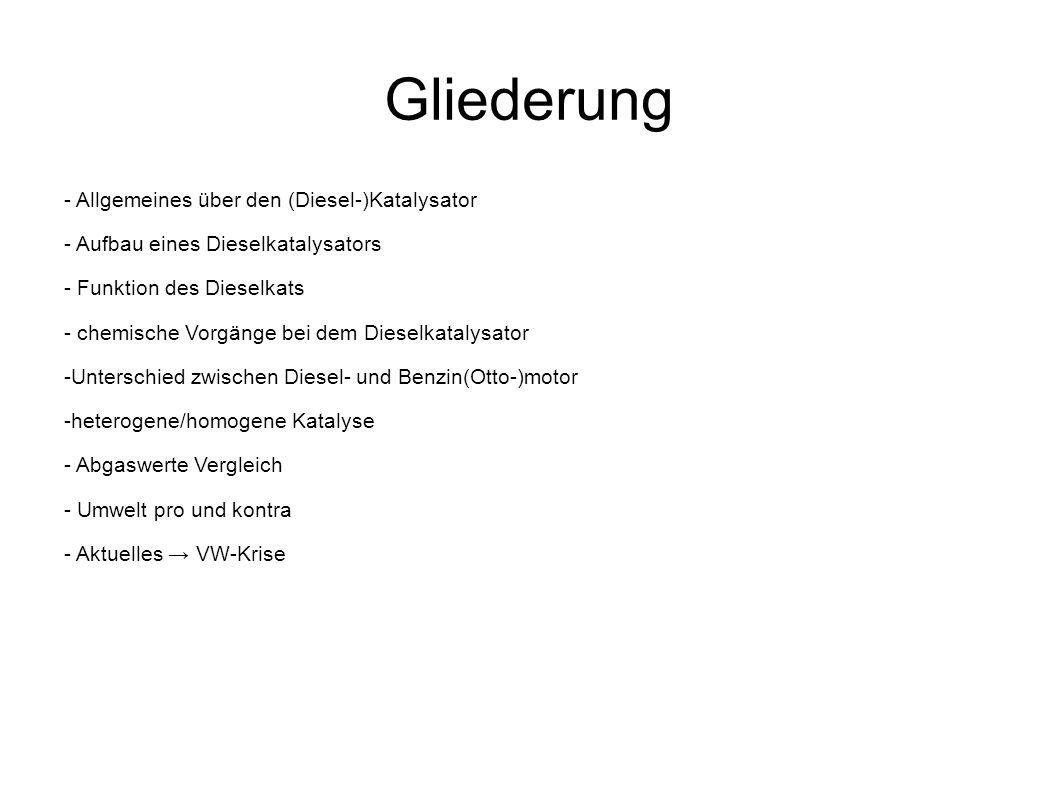 Gliederung - Allgemeines über den (Diesel-)Katalysator