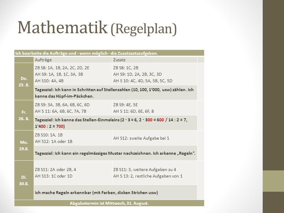 Mathematik (Regelplan)