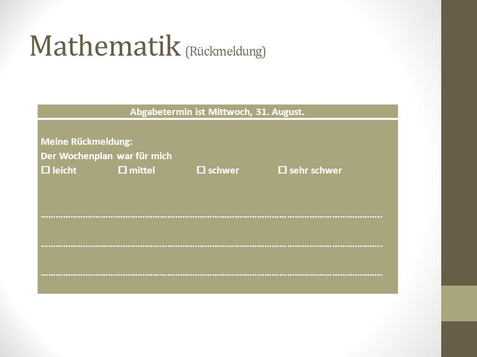 Mathematik (Rückmeldung)