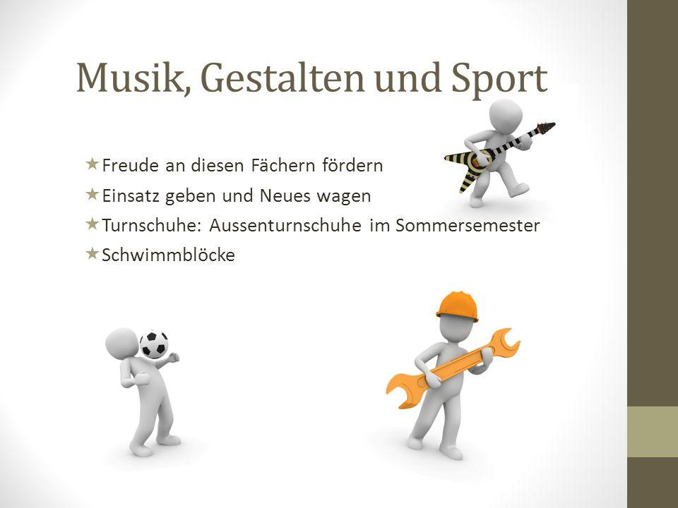 Musik, Gestalten und Sport