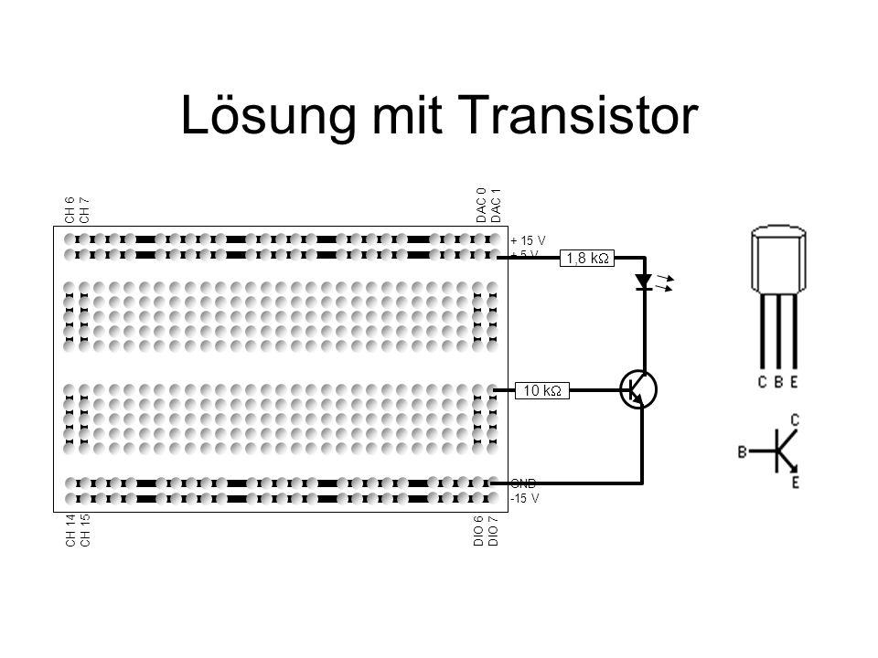 Lösung mit Transistor 1,8 kW 10 kW + 15 V + 5 V GND -15 V DIO 6 DIO 7