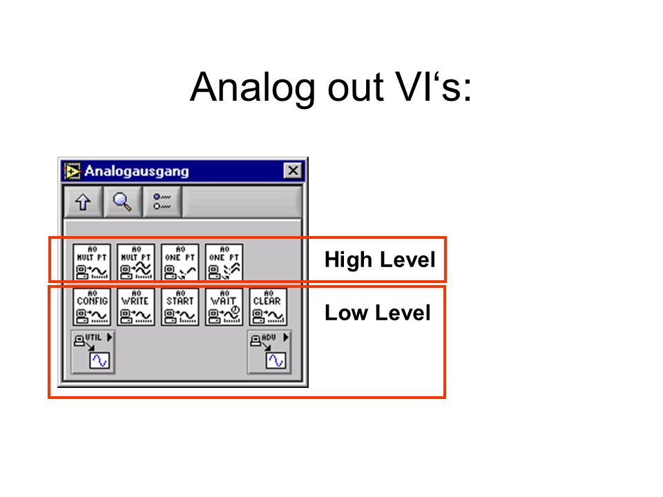 Analog out VI's: High Level Low Level