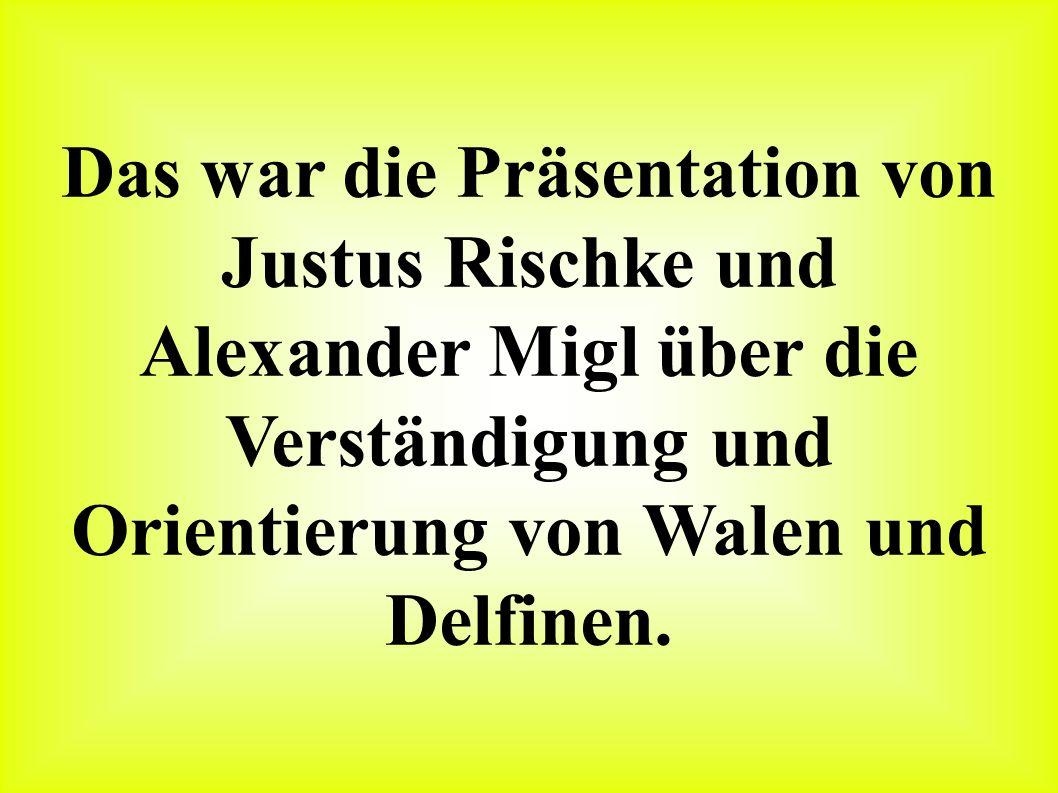 Das war die Präsentation von Justus Rischke und Alexander Migl über die Verständigung und Orientierung von Walen und Delfinen.