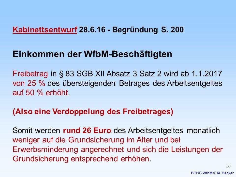 Einkommen der WfbM-Beschäftigten