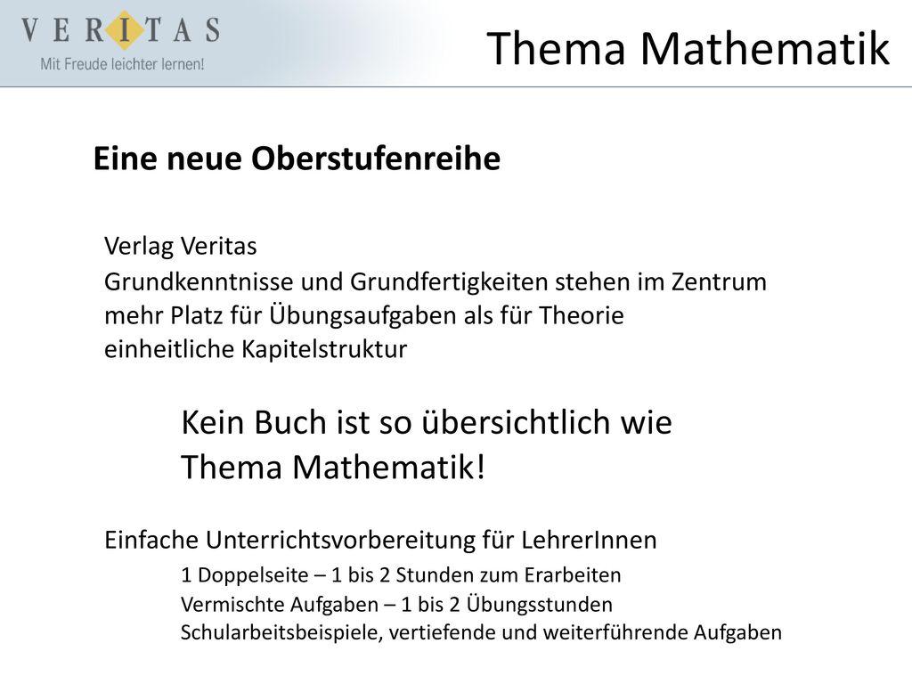 Thema Mathematik Eine neue Oberstufenreihe Verlag Veritas