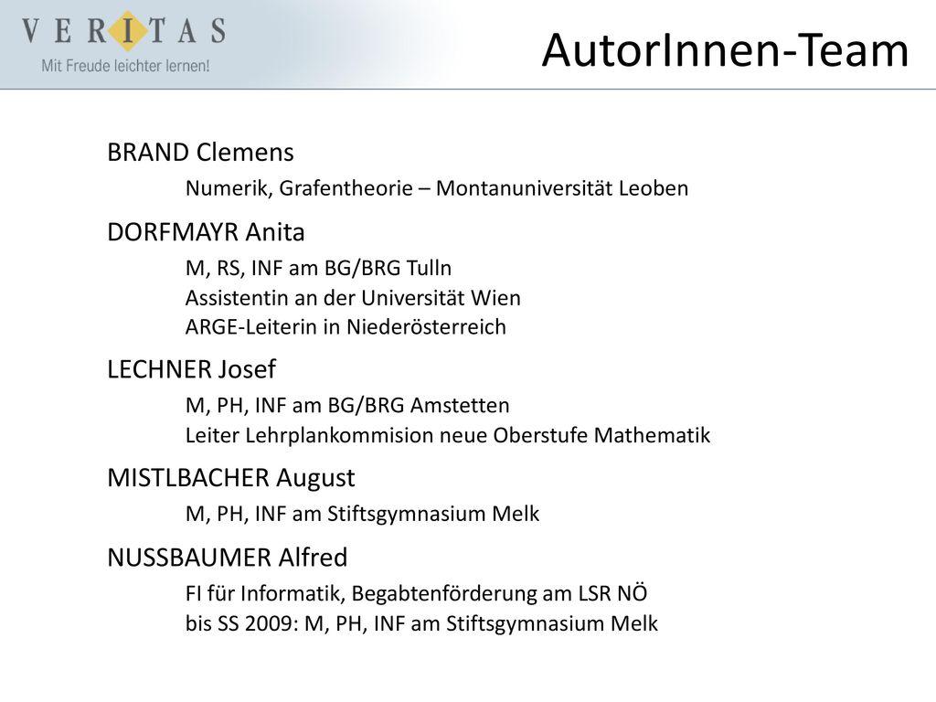 AutorInnen-Team BRAND Clemens Numerik, Grafentheorie – Montanuniversität Leoben.