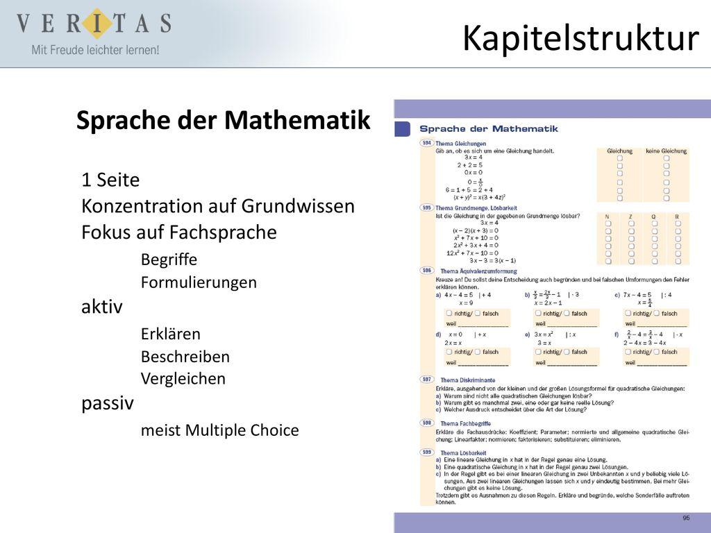 Kapitelstruktur Sprache der Mathematik 1 Seite