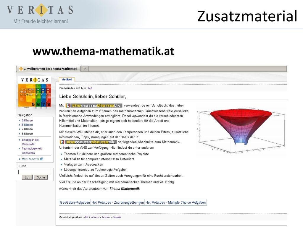 Zusatzmaterial www.thema-mathematik.at