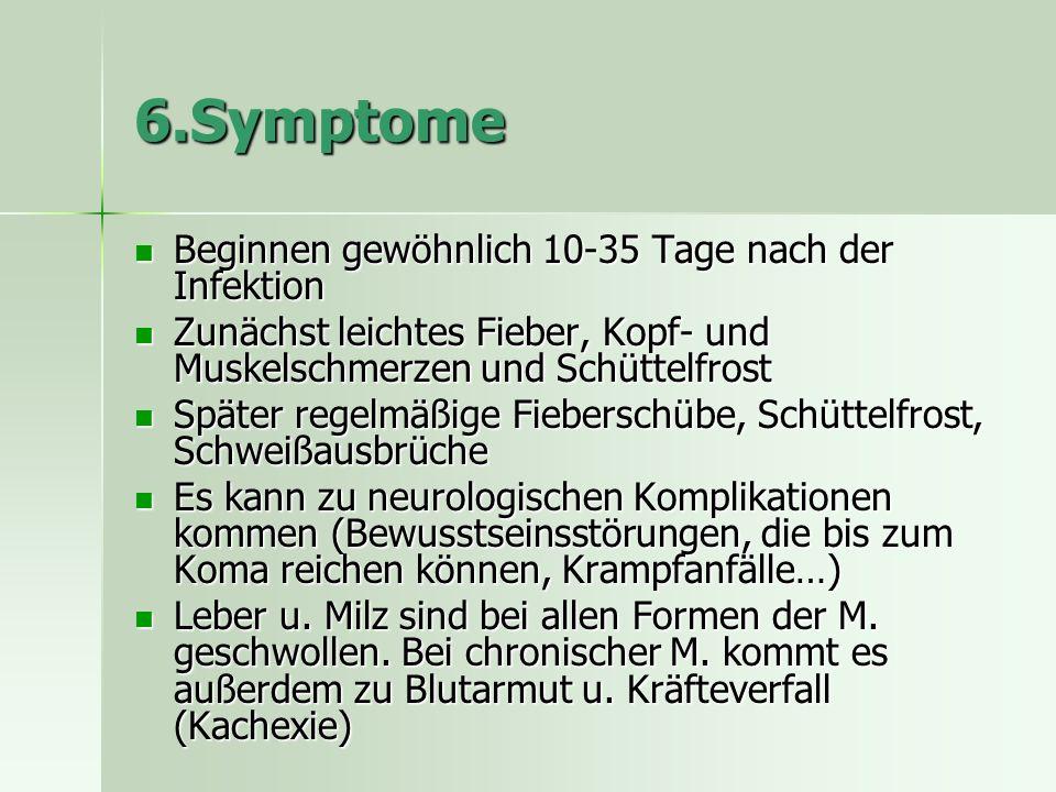 6.Symptome Beginnen gewöhnlich 10-35 Tage nach der Infektion