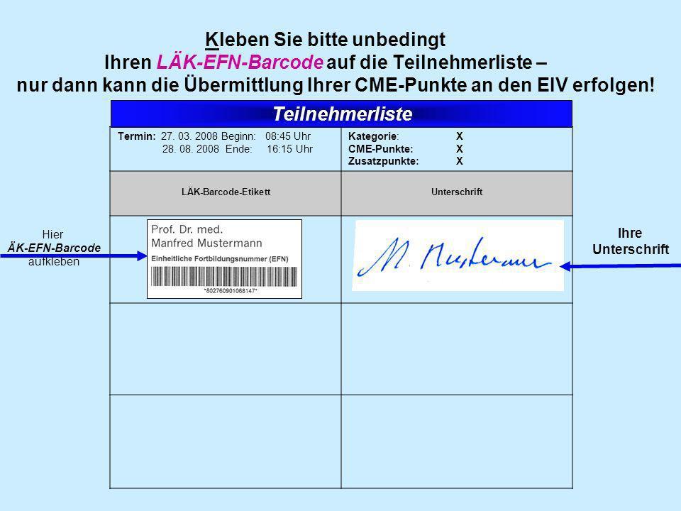 ÄK-EFN-Barcode aufkleben