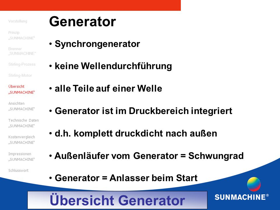 Generator Übersicht Generator Synchrongenerator