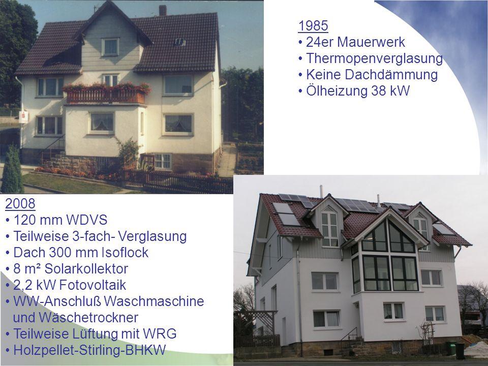 1985 24er Mauerwerk. Thermopenverglasung. Keine Dachdämmung. Ölheizung 38 kW. 2008. 120 mm WDVS.