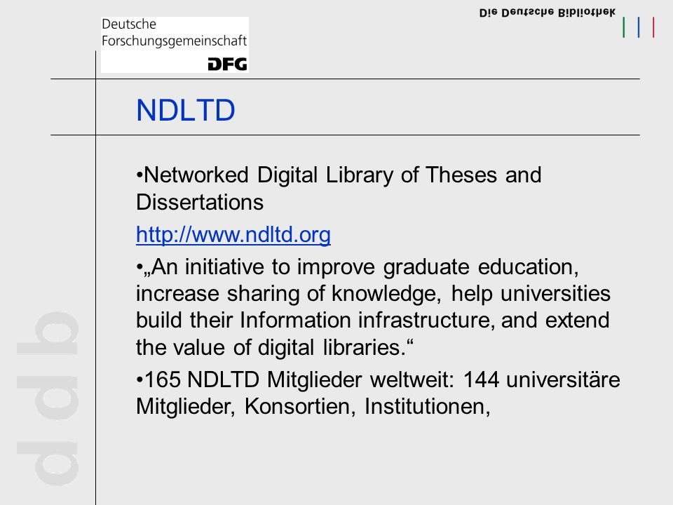 NDLTD Networked Digital Library of Theses and Dissertations