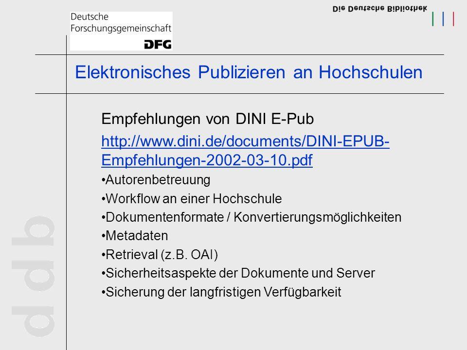 Elektronisches Publizieren an Hochschulen