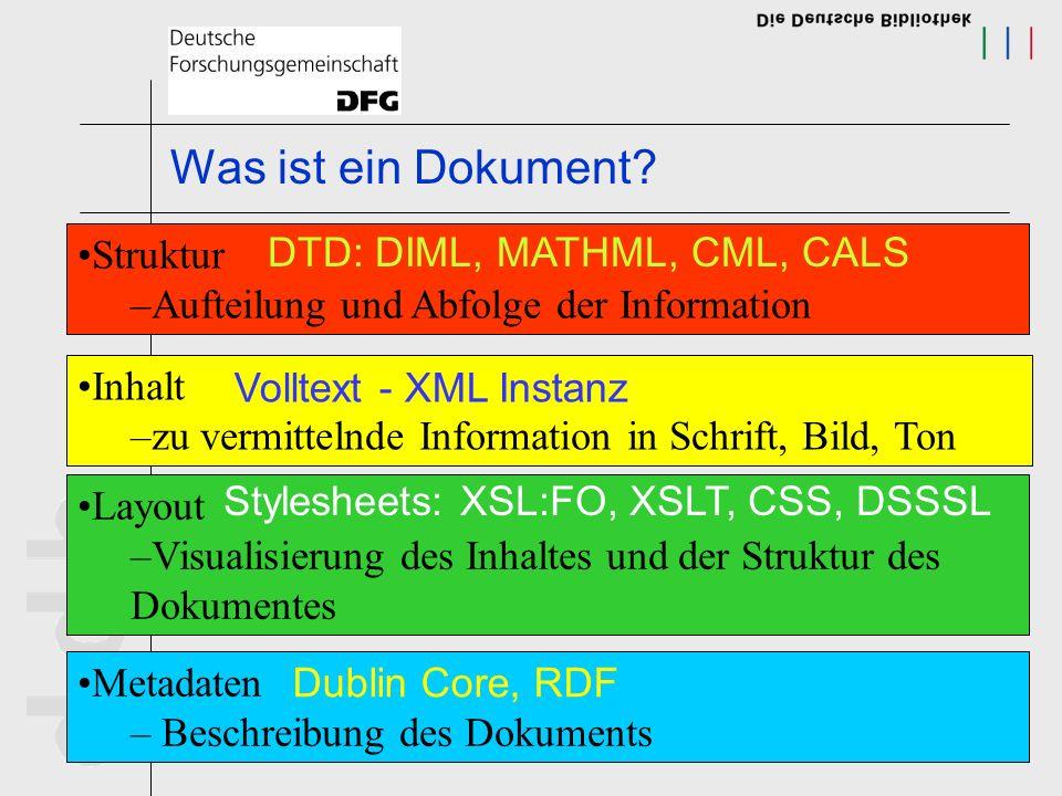 Was ist ein Dokument Struktur DTD: DIML, MATHML, CML, CALS