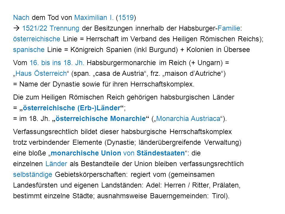 Nach dem Tod von Maximilian I