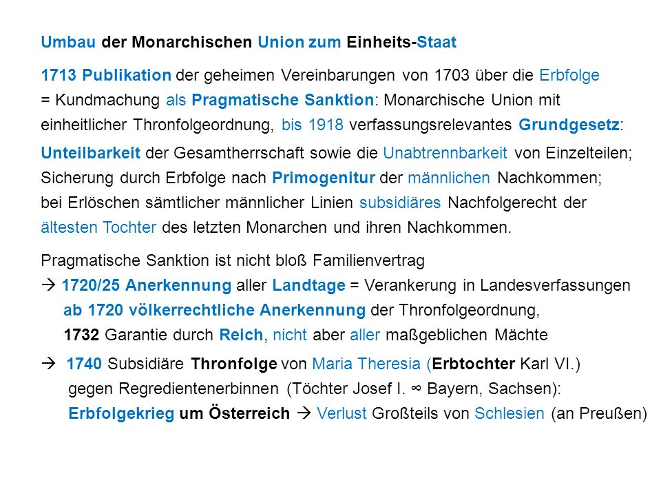 Umbau der Monarchischen Union zum Einheits-Staat