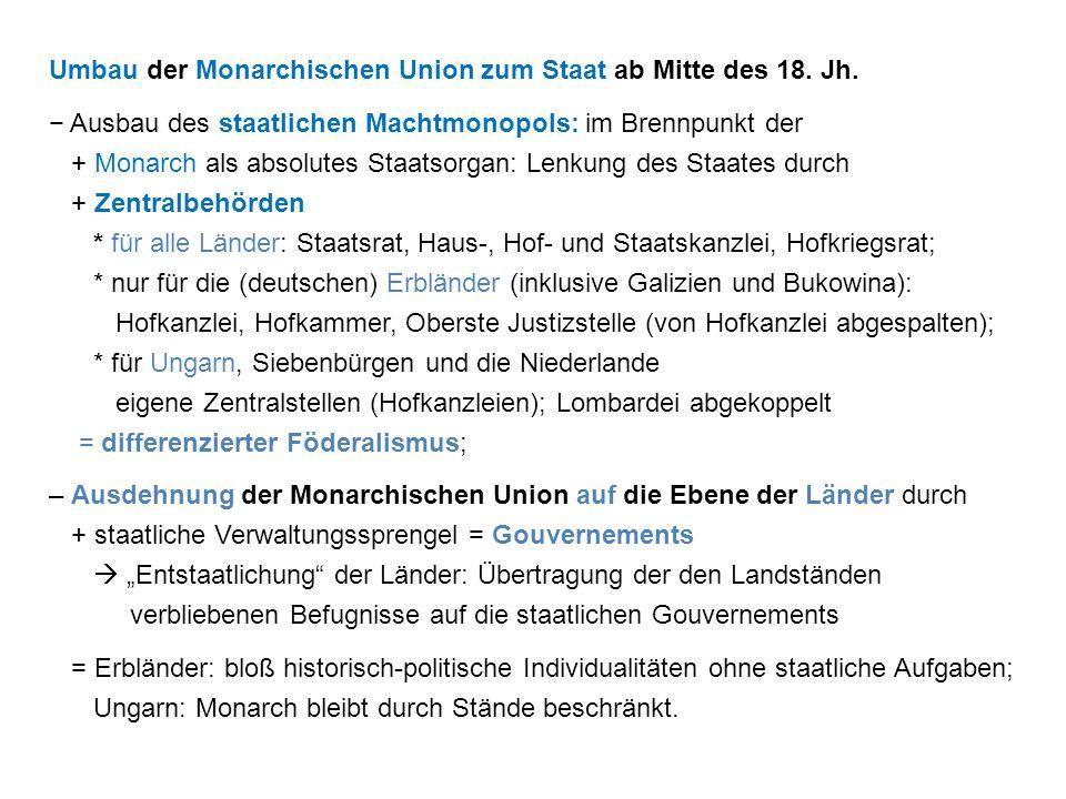 Umbau der Monarchischen Union zum Staat ab Mitte des 18. Jh.