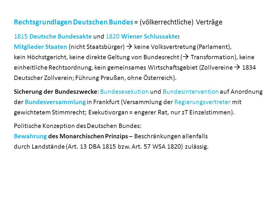 Rechtsgrundlagen Deutschen Bundes = (völkerrechtliche) Verträge