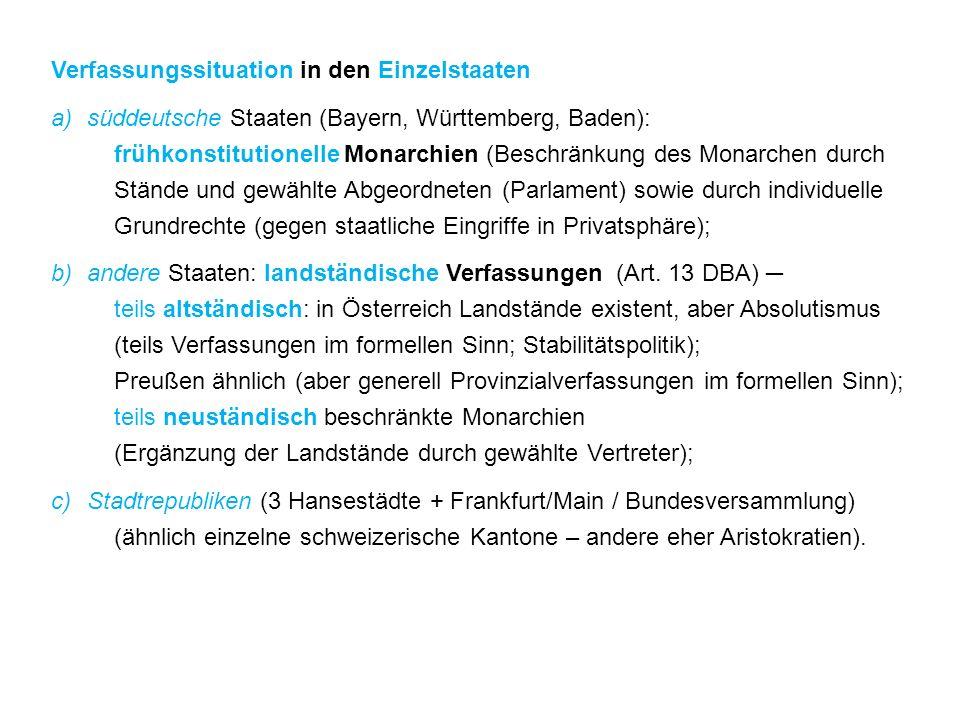 Verfassungssituation in den Einzelstaaten