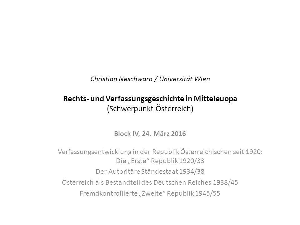 Der Autoritäre Ständestaat 1934/38