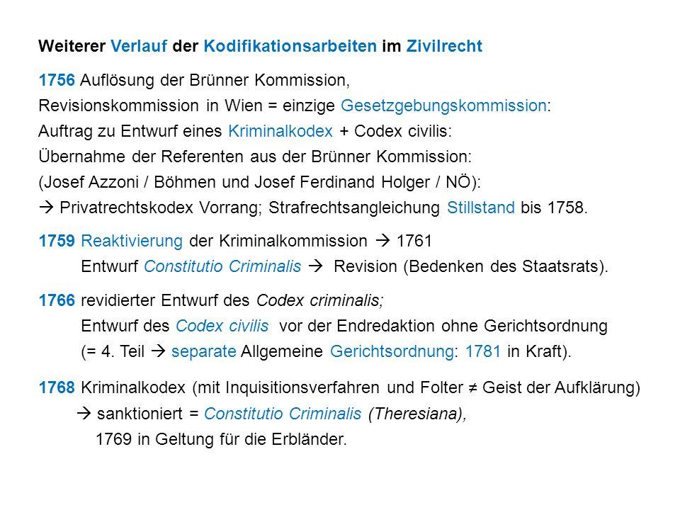 Weiterer Verlauf der Kodifikationsarbeiten im Zivilrecht