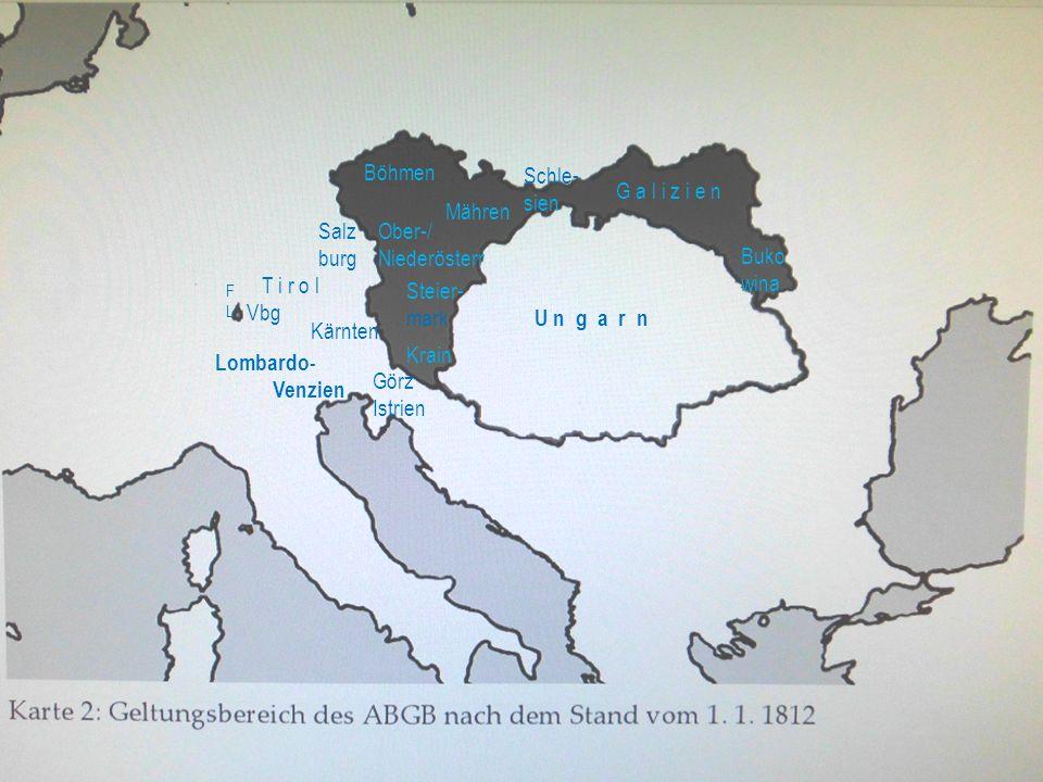 Böhmen Schle-sien G a l i z i e n Mähren Salz burg Ober-/ Niederösterr