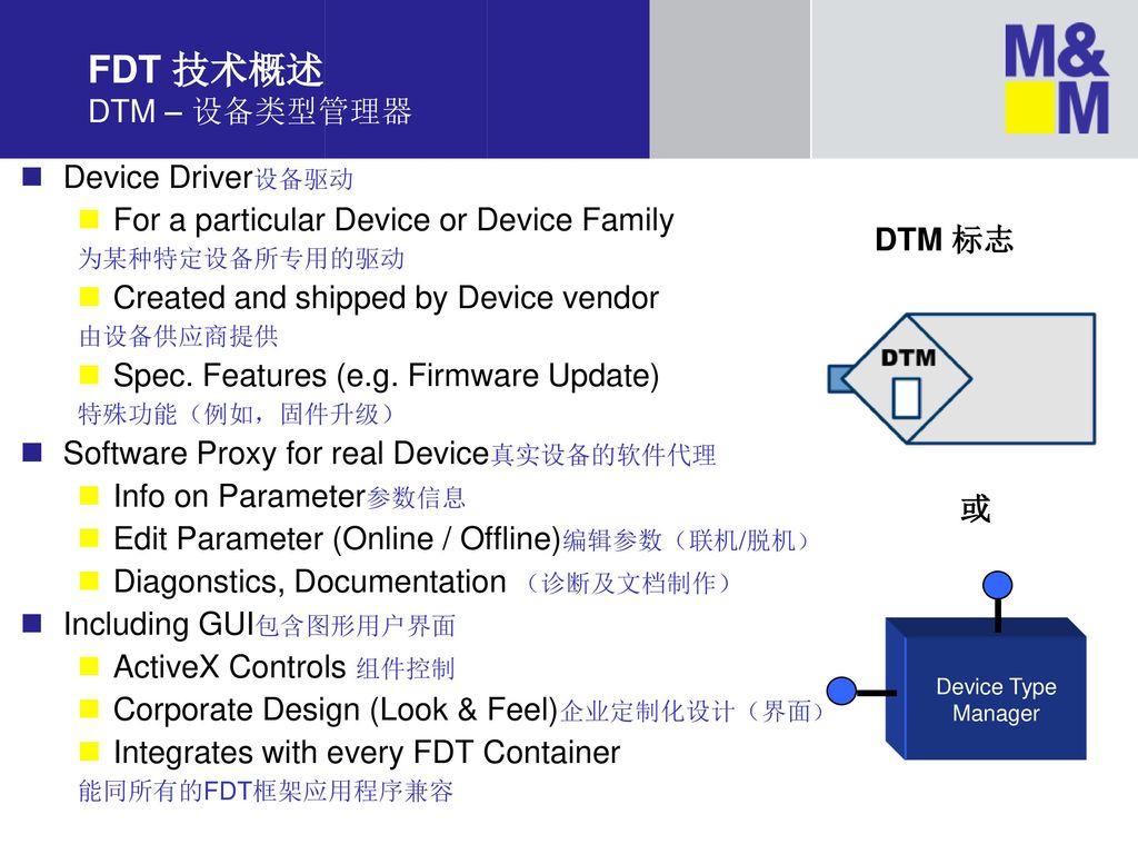 FDT 技术概述 DTM – 设备类型管理器 Device Driver设备驱动