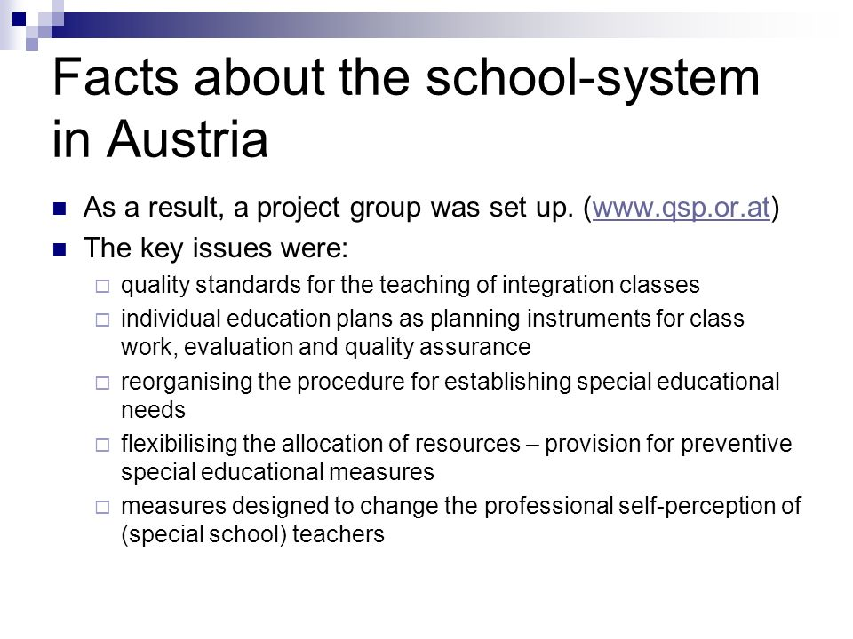 Facts about the school-system in Austria
